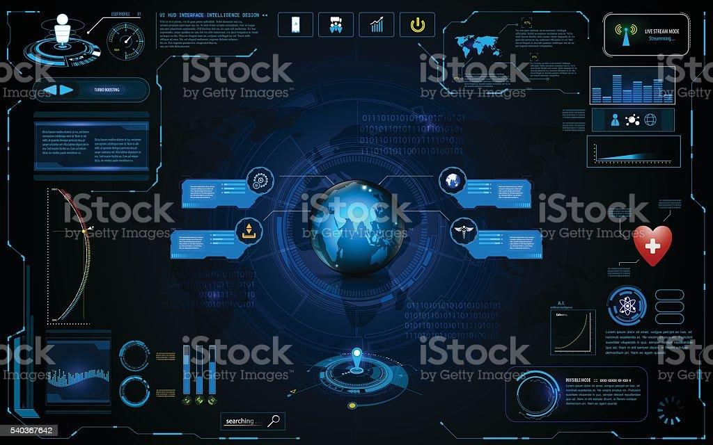 hud interface global network connection tech template design vector art illustration
