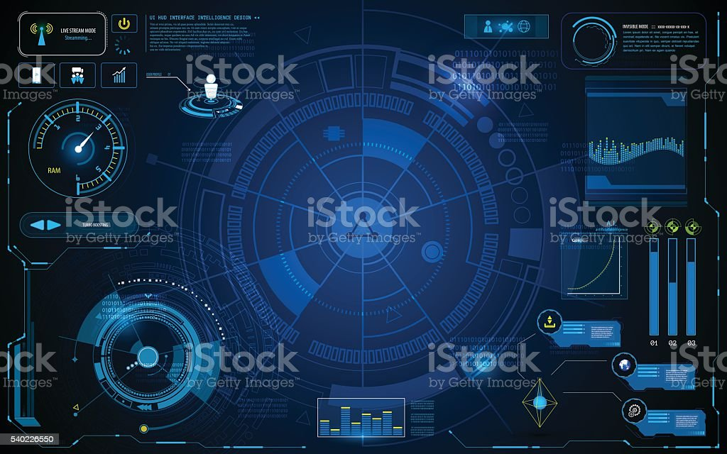 hud interface technology computer communication telecoms innovation concept template design vector art illustration