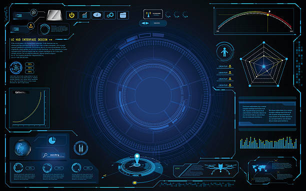 hud interface technology computing screen innovation concept design background hud, interface, ui, template, icon, technology, tech, hi tech, sci fi,  computer, screen, monitoring, innovation, security, drone, world map, level, infographic, data, access, stream, online, copyspace, space, composition, circular, line, linear, texture, pattern, digital, networking, internet, vector, illustration, blue, gradient, background, backdrop, surveillance stock illustrations