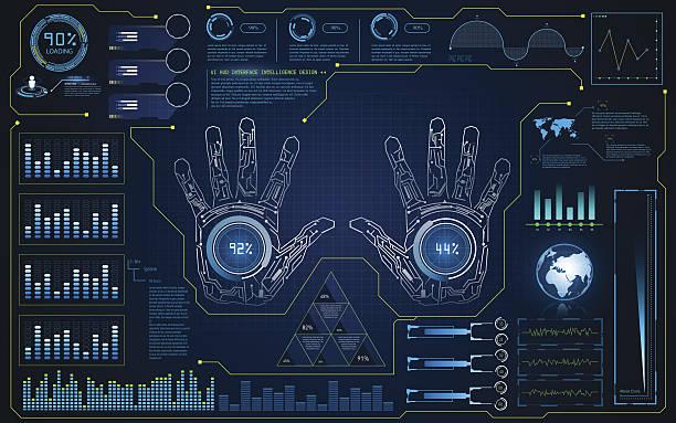 hud interface ui smart screen future hi tech concept background – Vektorgrafik