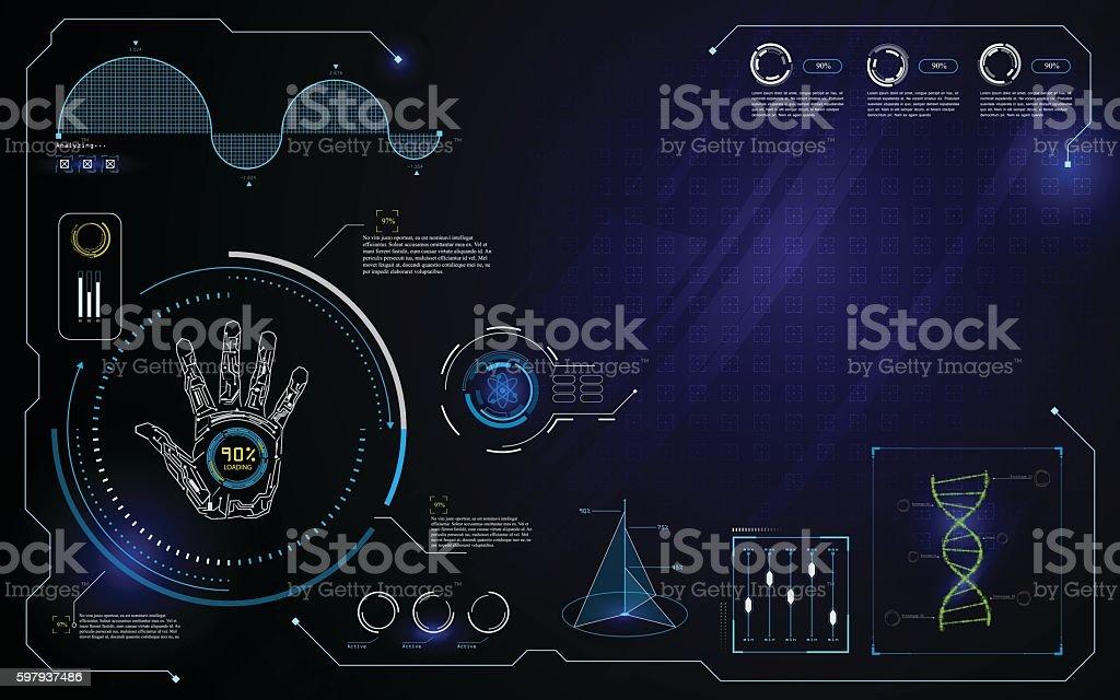 hud interface ui technology innovation computer concept design template background vector art illustration