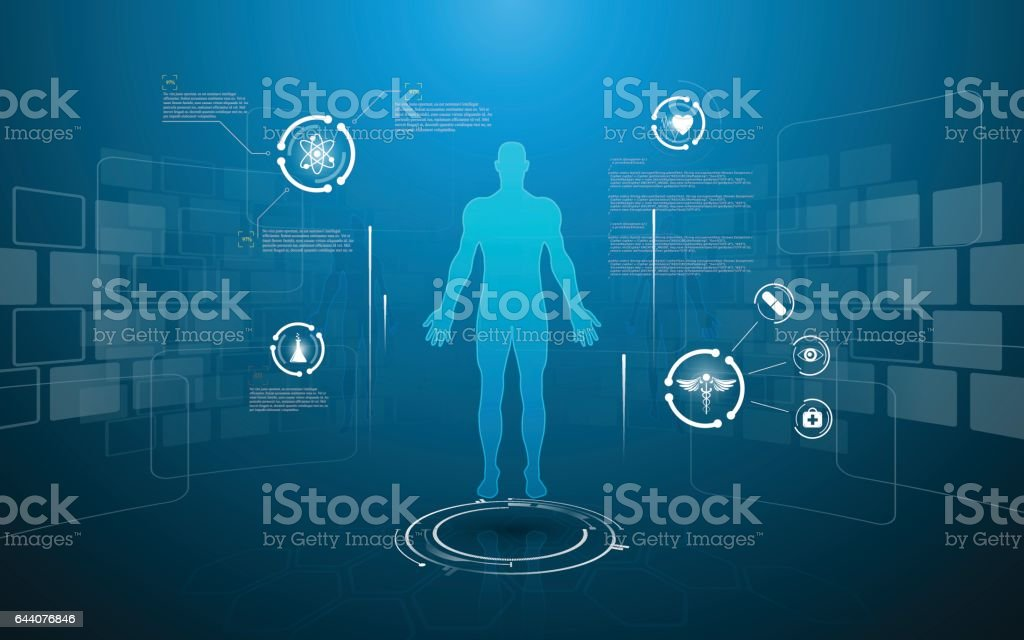 hud interface virtual hologram future system health care innovation concept royalty-free hud interface virtual hologram future system health care innovation concept stock illustration - download image now