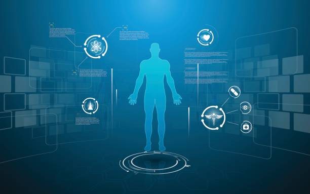 hud interface virtual hologram future system health care innovation concept vector art illustration