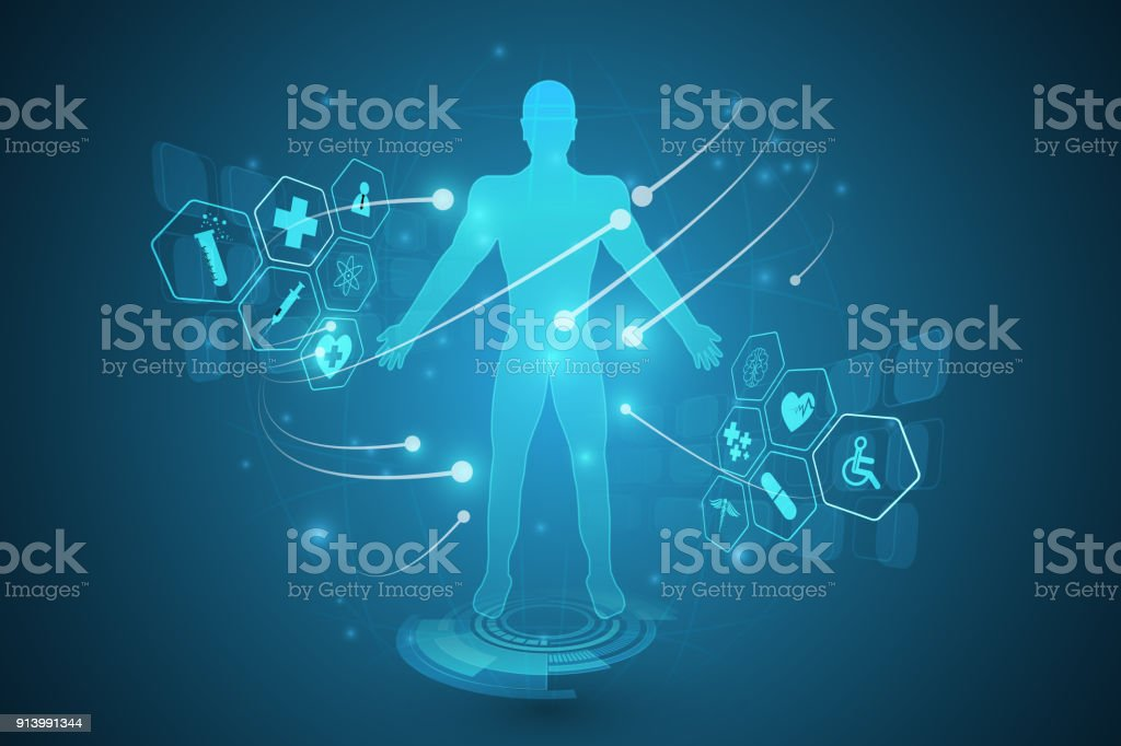Hud Interface Virtual Hologram Future System Health Care Innovation Concept Background Royalty Free
