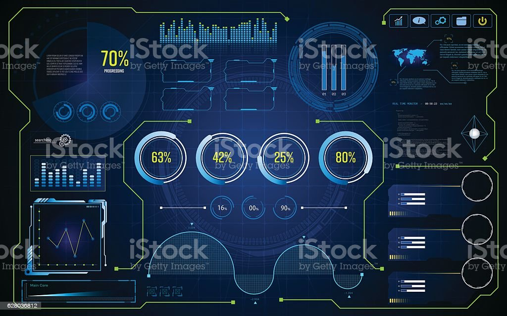 hud ui gui future futuristic screen system virtual design background vector art illustration