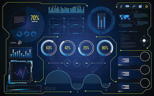 illustrations, cliparts, dessins animés et icônes de hud ui gui future futuristic screen system virtual design background - infographies médicales