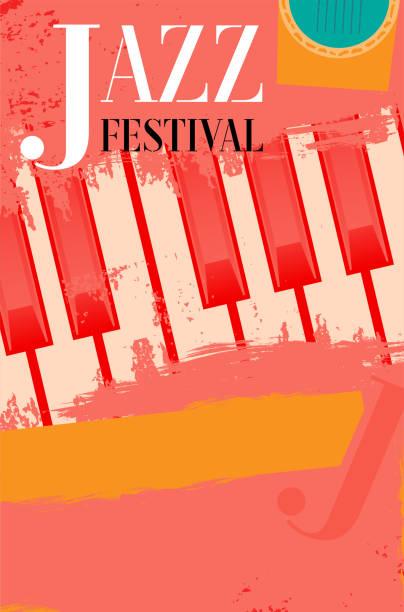 hudbeni jazz festival_klavesy_grunge-retro_plakat_template 1 - jazz stock illustrations
