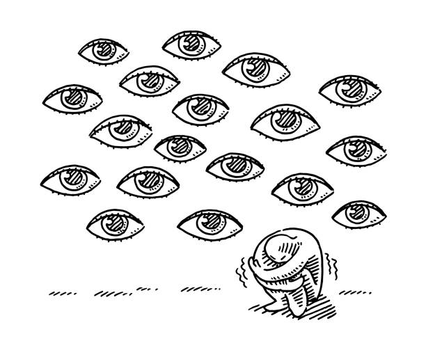 Huddled Human Figure Anxiety Concept Drawing Hand-drawn vector drawing of a Huddled Human Figure and many Eyes, Anxiety Concept. Black-and-White sketch on a transparent background (.eps-file). Included files are EPS (v10) and Hi-Res JPG. cartoon character figure stock illustrations