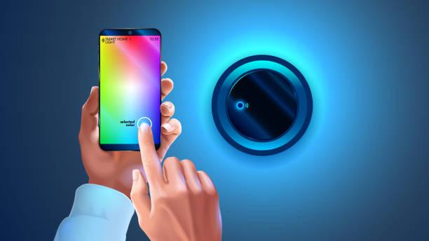 hue-app auf handy smart lampe im smart-home-system gesteuert. hände halten smartphone, wechselnde farblicht wand lapm. wi-fi fernbedienung lampe licht. smartphone-verbindung mit wireless-leuchte über wi-fi - hausfarbpaletten stock-grafiken, -clipart, -cartoons und -symbole