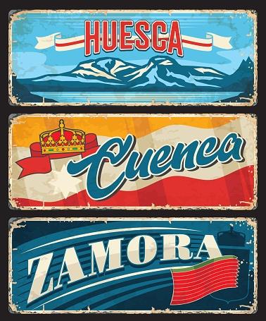 Huesca, Cuenca, Zamora, province of Spain plates
