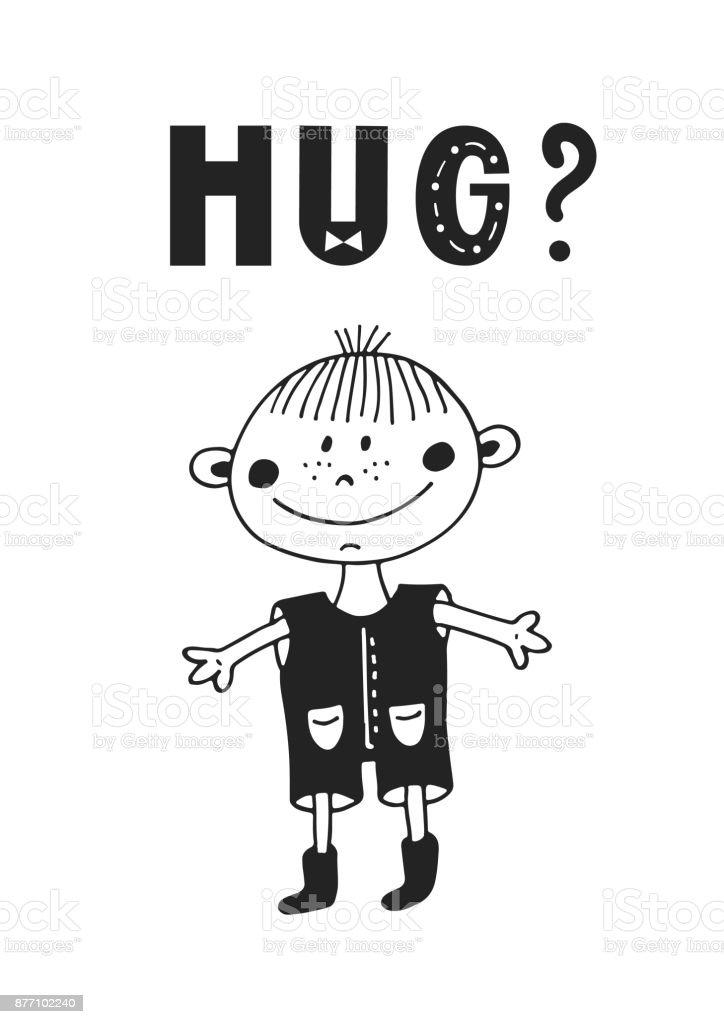 Hug Suss Und Spass Hand Gezeichnete Kinderzimmer Poster Mit Schriftzug
