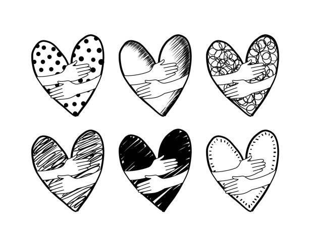 ilustrações, clipart, desenhos animados e ícones de abraça a mão em forma de coração. estilo de desenho de mão. - hug