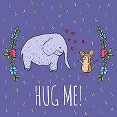 Hug me card with elephant and hedgehog