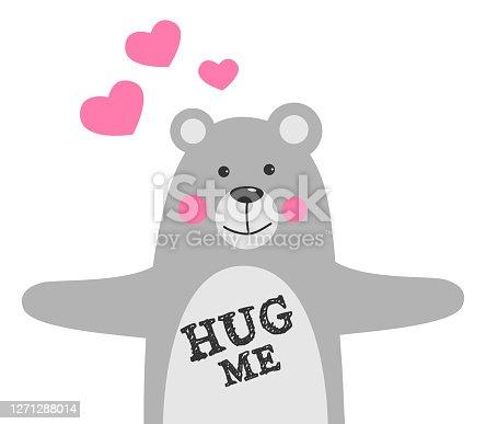 istock Hug me. Love concept.Valentine's Day Vector Card. 1271288014