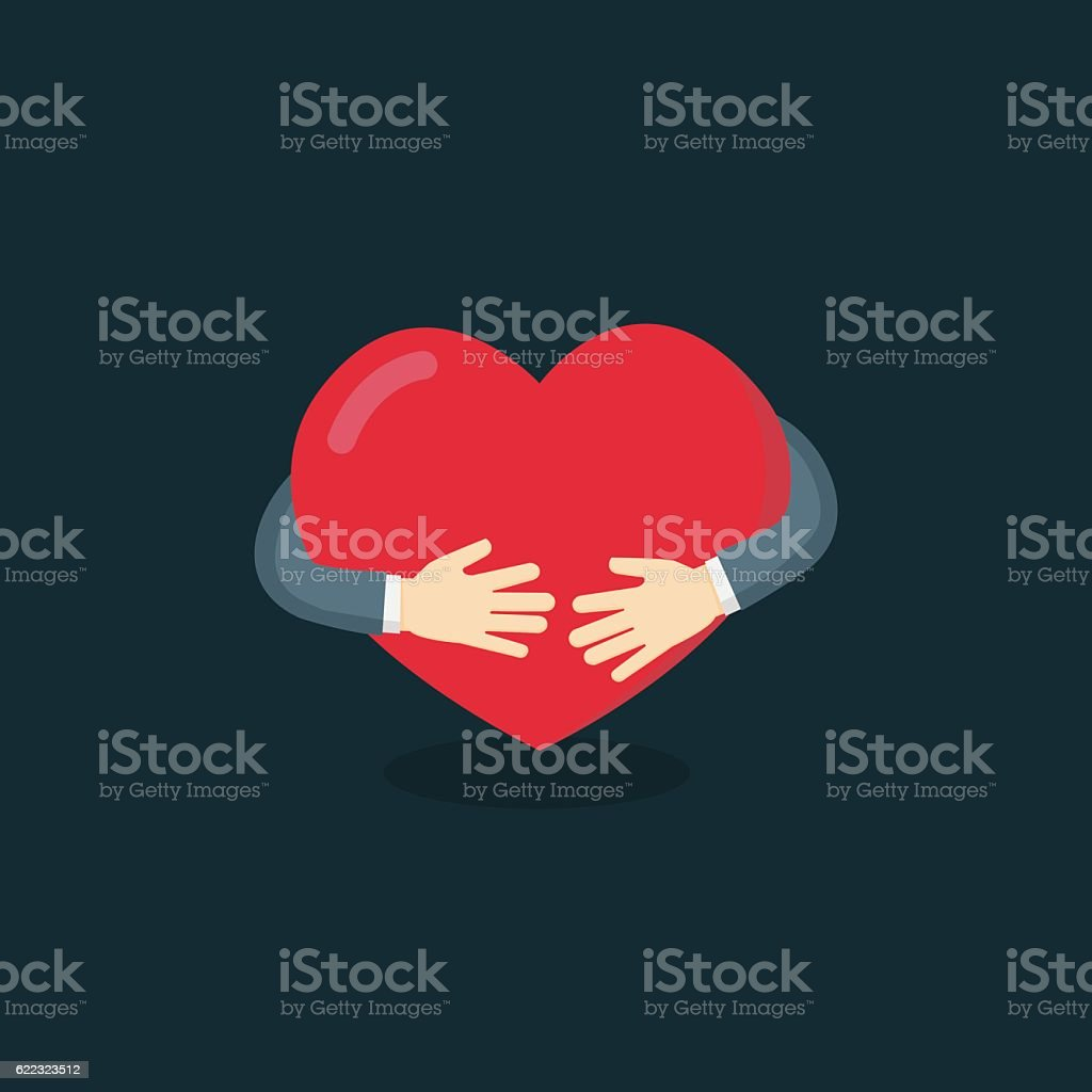 Hug The Love Shape Vector, Hug Your Self Love Your Self. vector art illustration