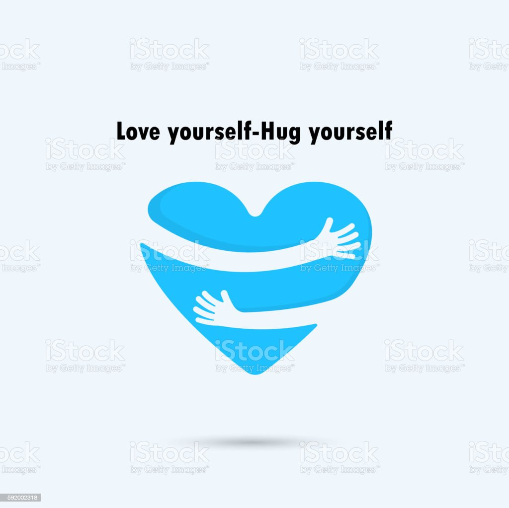 Hug yourself icon.Love yourself icon. - ilustración de arte vectorial