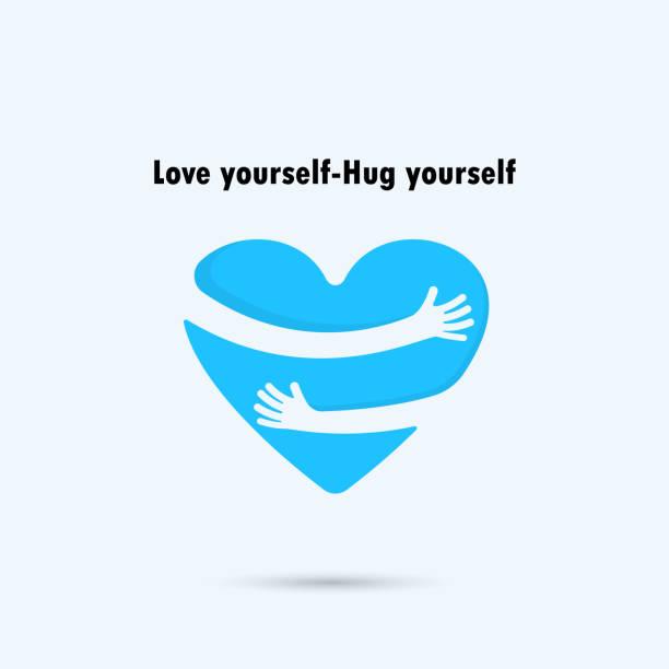 ilustrações, clipart, desenhos animados e ícones de hug yourself icon.love yourself icon. - hug