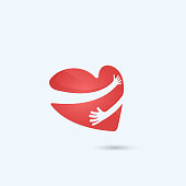 istock Hug yourself logo.Love yourself logo.Love and Heart Care icon.Heart shape and healthcare & medical concept. 648721118