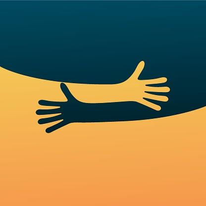 Hugging hands. Arm embrace, relationship hugged hands