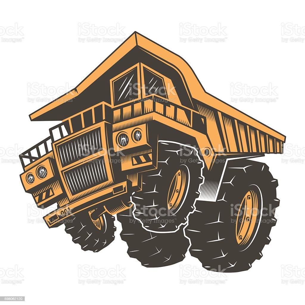 Huge aggressive construction truck vector art illustration