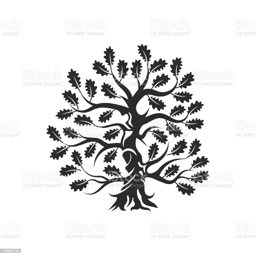 Huge and sacred oak tree silhouette   badge isolated on white background. vector art illustration