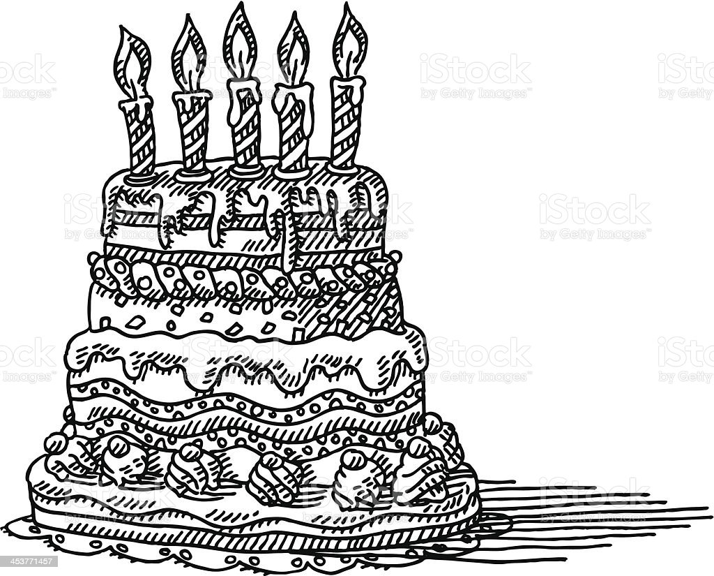 Huge Birthday Cake Candles Drawing Stock Vector Art More Images Of
