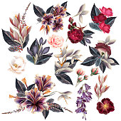 Big collection of flowers in vintage style