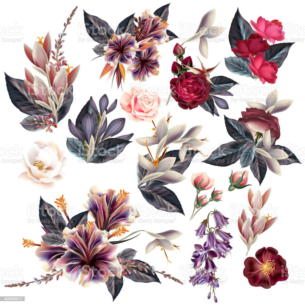 Huge collection of flowers in vintage style vector art illustration