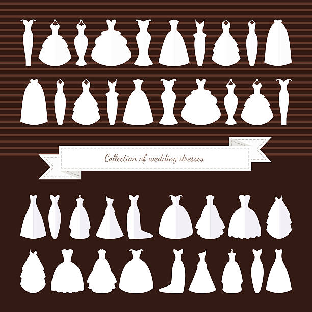Huge collection of wedding dresses. Wedding Dress. Style - Illustration Different styles of wedding dresses made in modern flat vector style. Choose your perfect wedding dress for your body type. Bridal vector. wedding dress stock illustrations