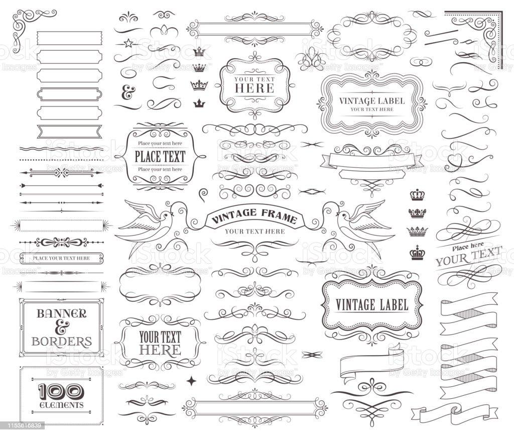 Huge collection or set of vector decorative elements for design - Векторная графика Антиквариат роялти-фри