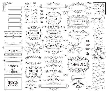 Huge collection or set of vector decorative elements for design