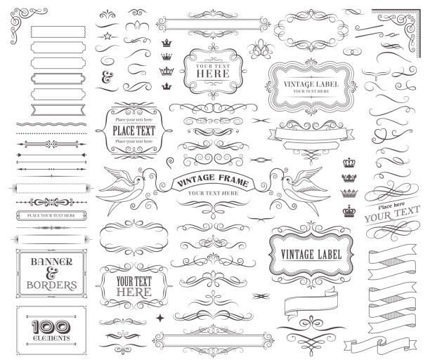 거 대 한 컬렉션 또는 디자인에 대 한 벡터 장식 요소의 집합 - 오래된 stock illustrations