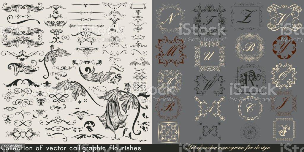 Flourishes 및 디자인 에서도 거 대 한 컬렉션 또는 빈티지 벡터의 집합 royalty-free flourishes 및 디자인 에서도 거 대 한 컬렉션 또는 빈티지 벡터의 집합 0명에 대한 스톡 벡터 아트 및 기타 이미지