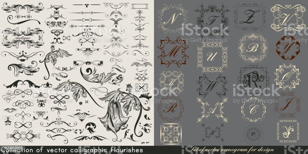 Huge collection or set of vintage vector flourishes and monograms for design vector art illustration