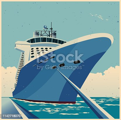 Stylized vector illustration of a huge cruise ship at the pier retro poster style