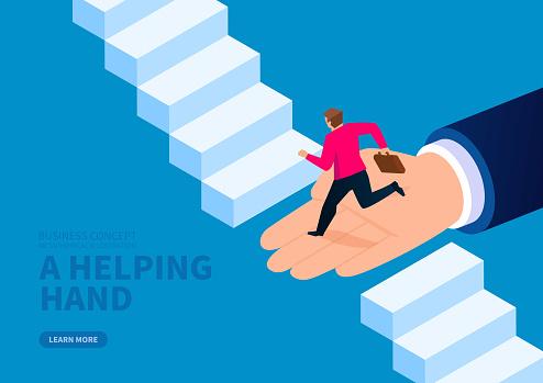 Huge hand helps businessman to cross the broken stairs