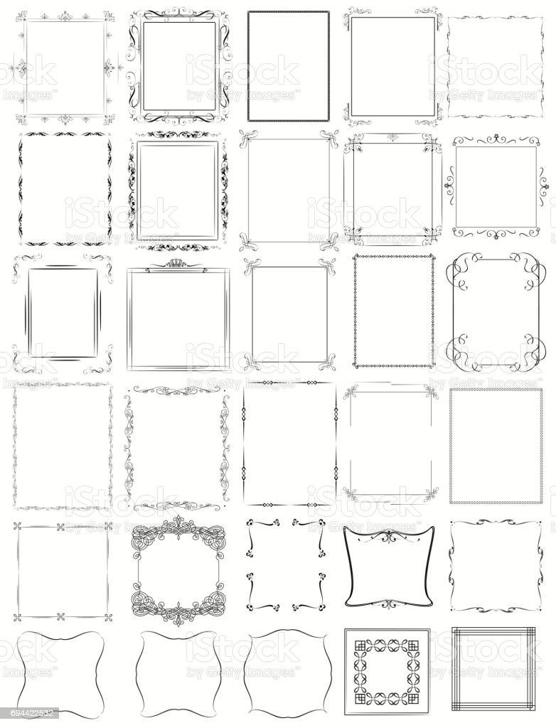 Huge mega collection of vector frames in vintage modern and victorian styles. Calligraphic design huge mega collection of vector frames in vintage modern and victorian styles calligraphic design - immagini vettoriali stock e altre immagini di abbigliamento formale royalty-free