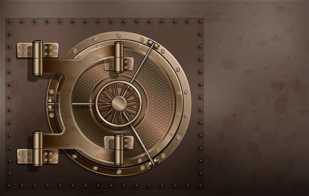 eine riesige runde sicher metalltür. zuverlässige speicherung von geheimnissen und passwörter. - safe stock-grafiken, -clipart, -cartoons und -symbole