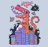 A huge monster destroys the city. The dinosaur is the destroyer. Cartoon illustration for print and web. Character in the modern graphic style.