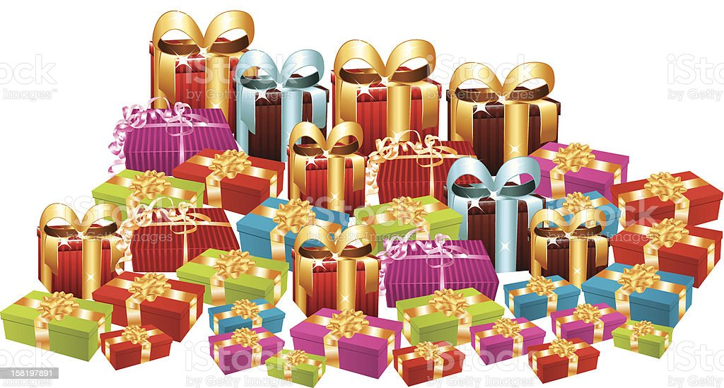 Huge pile of christmas gifts. royalty-free huge pile of christmas gifts stock vector art & more images of beauty