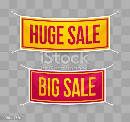 istock Huge Sale Big Sale Hanging Banners 1266117870