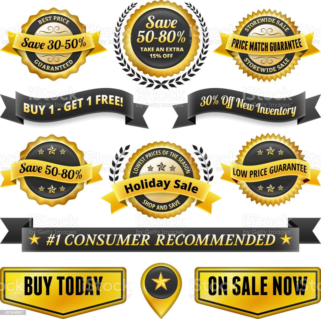 Huge Sale Black and Gold Badge Set royalty-free stock vector art