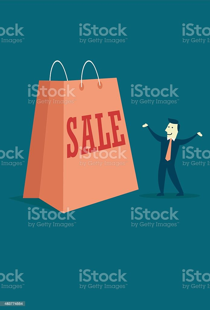 Huge sale paperbag with a businessman
