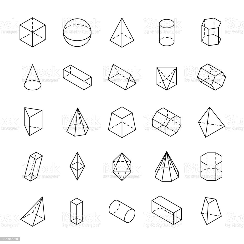 huge set of 3d geometric shapes with isometric views stock vector