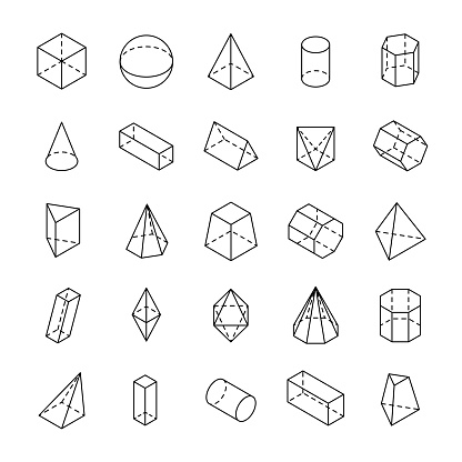 Huge set of 3D geometric shapes with isometric views.