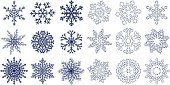 Big set of blue flat and linear snowflakes isolated on white background. Vector illustration.