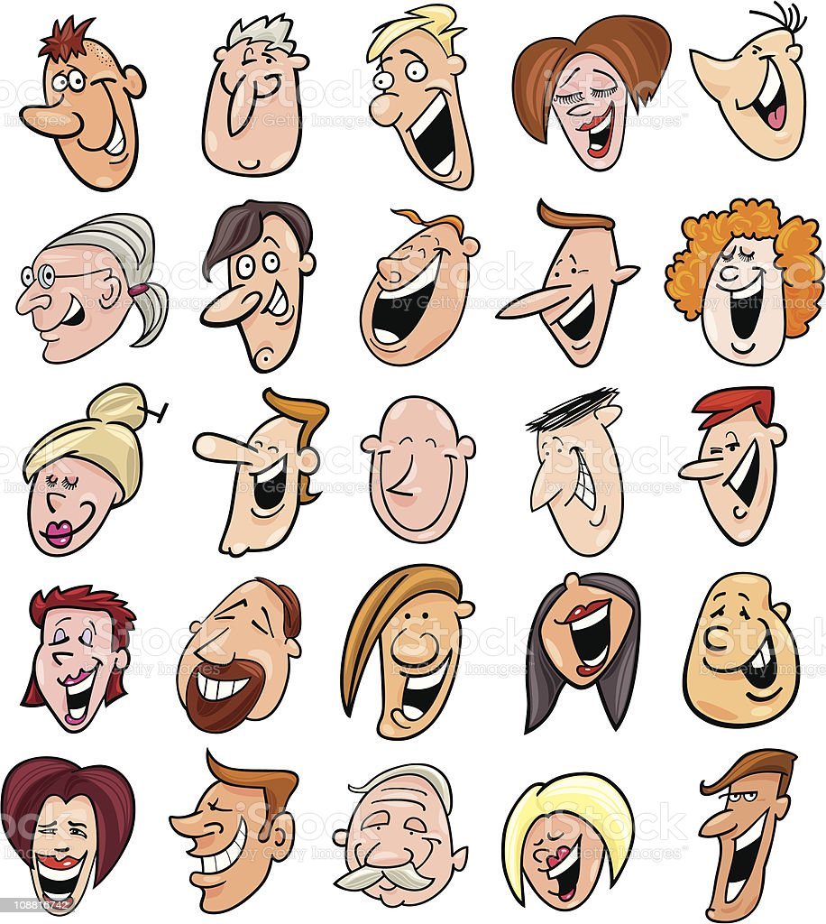 huge set of laughing people faces royalty-free stock vector art