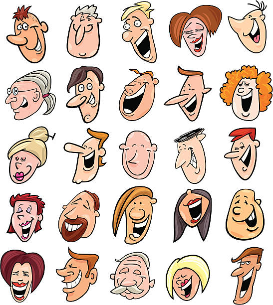 huge set of laughing people faces - toothy smile stock illustrations