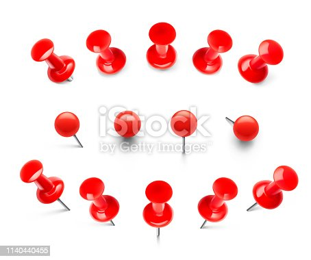 Thumbtacks ready for your design. Vector illustration isolated on white background. EPS10.