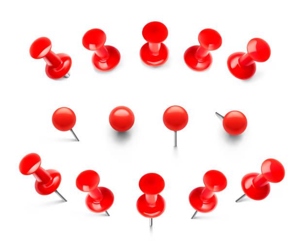 riesige rote push-pins. pins durchbohrt in verschiedenen höhen und ansichten. - heftzwecke stock-grafiken, -clipart, -cartoons und -symbole